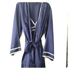 Navy Blue Slip & Matching Robe Set